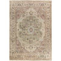 Hand-Knotted Demi Border New Zealand Wool Area Rug - 8' x 11'