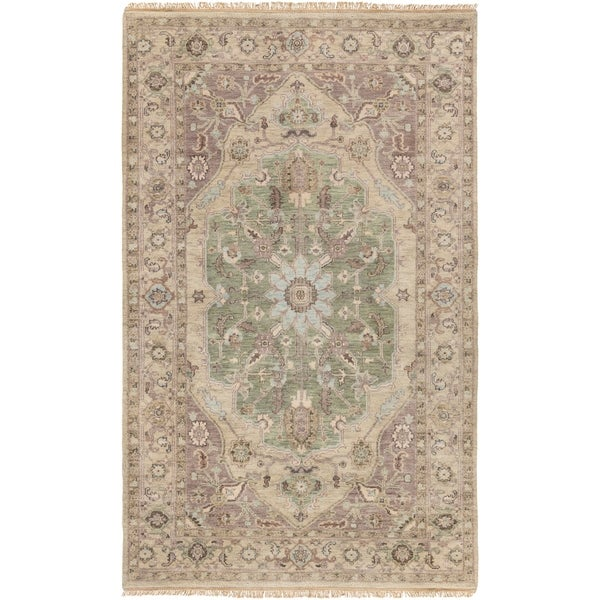 Hand-Knotted Demi Border New Zealand Wool Area Rug - 9' x 13'