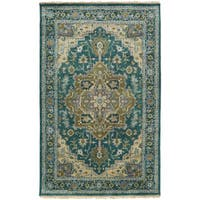 Hand-Knotted Conor Border New Zealand Wool Area Rug - 2' x 3'