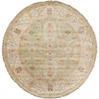 Hand-Knotted Alec Border New Zealand Wool Area Rug (8' Round)