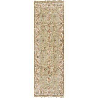 Hand-Knotted Alec Border New Zealand Wool Rug (2'6 x 8')