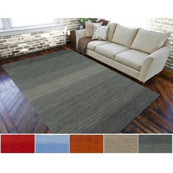 Hand-Loomed Belfast Solid Wool Area Rug - 5' x 8'