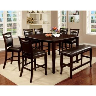 furniture of america clemmine 8 piece espresso counter height dining set - 8 Piece Dining Room Set