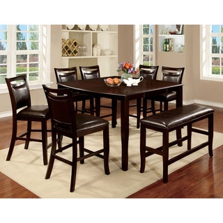 Furniture Of America Clemmine 8 Piece Espresso Counter Height Dining Set