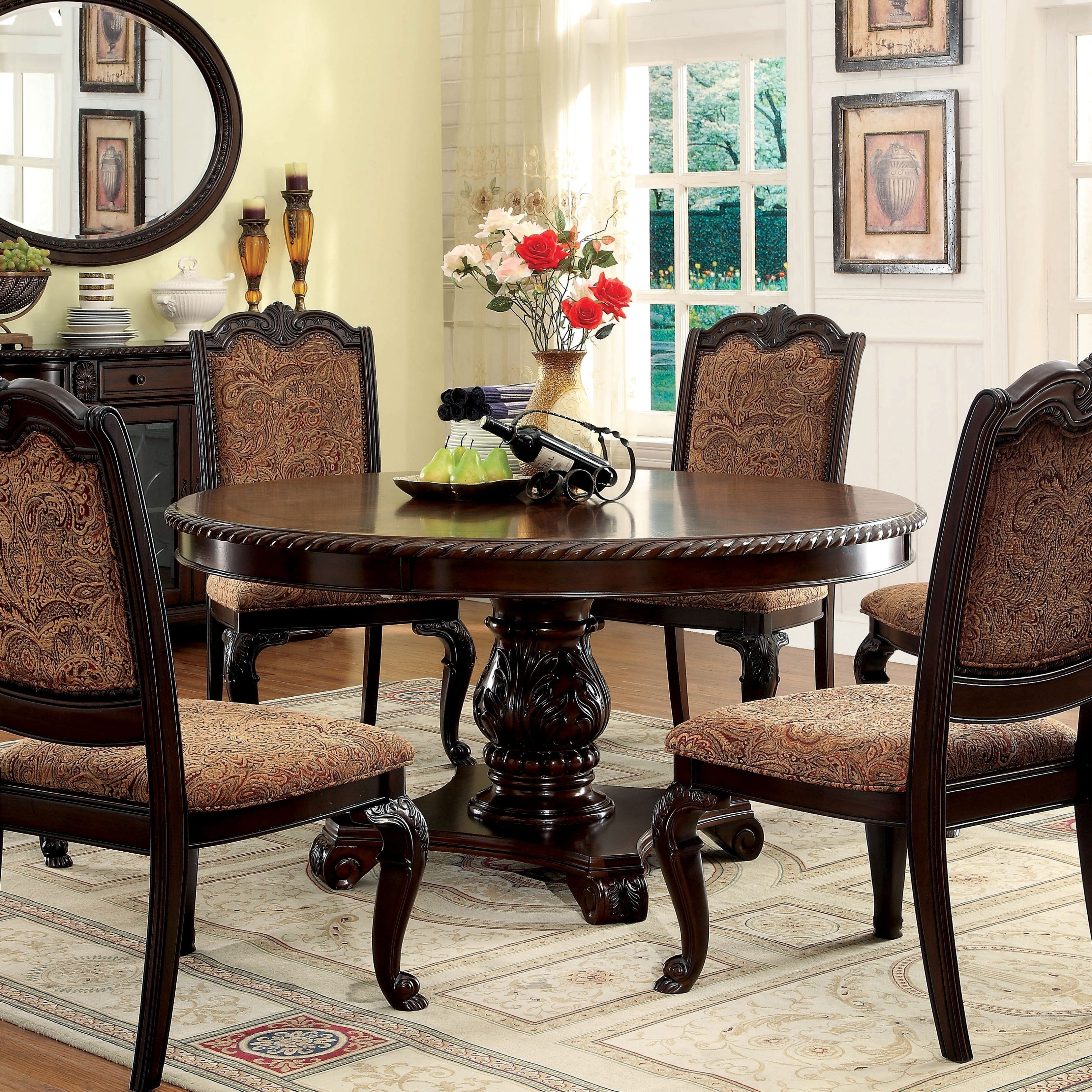 Furniture Of America Kova Traditional Cherry 60 Inch Dining Table Overstock 9937897