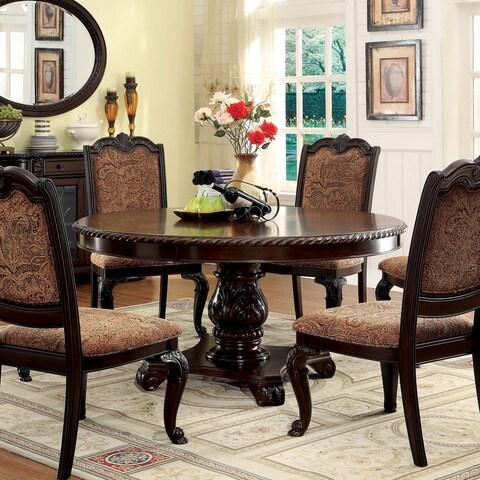 Furniture of America Oskarre Brown Cherry Wood/Veneer Round Dining Table