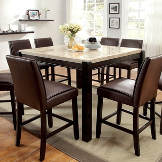 furniture of america joreth genuine marble top counter height dining table