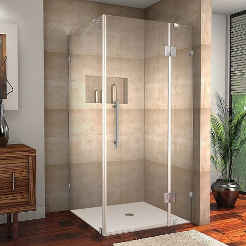 Aston Avalux 38-in x 38-in x 72-in Completely Frameless Hinged Shower Enclosure in Chrome