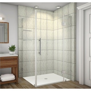 Aston Avalux GS 48-in x 36-in x 72-in Completely Frameless Shower Enclosure w. Glass Shelves in Chrome