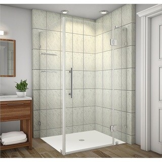 Aston Avalux GS 48-in x 32-in x 72-in Completely Frameless Shower Enclosure w. Glass Shelves in Chrome