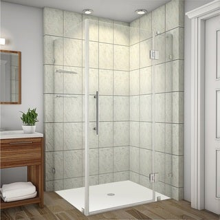 Aston Avalux GS 40-in x 32-in x 72-in Completely Frameless Shower Enclosure w. Glass Shelves in Chrome