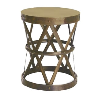 Horizon Hammered Brass Drum Cross Table/ Stool