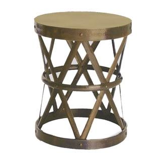 horizon hammered brass drum cross table stool