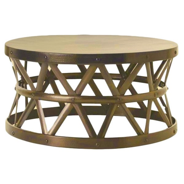Bon Horizon Hammered Brass Antique Drum Cross Coffee Table