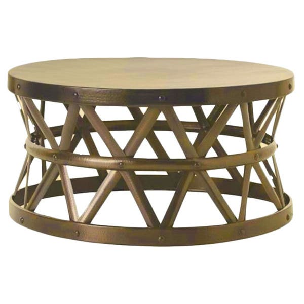 Surprising Horizon Hammered Brass Antique Drum Cross Coffee Table Gamerscity Chair Design For Home Gamerscityorg