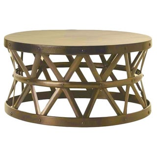 Horizon Hammered Brass Antique Drum Cross Coffee Table