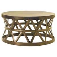Horizon Hammered Brass Antique Drum Cross Coffee Table