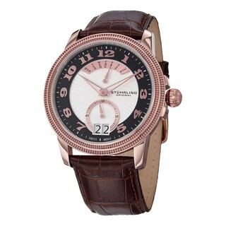 Stuhrling Original Swiss Made Swiss Quartz Rose Tone Classique Watch with Brown Leather Strap