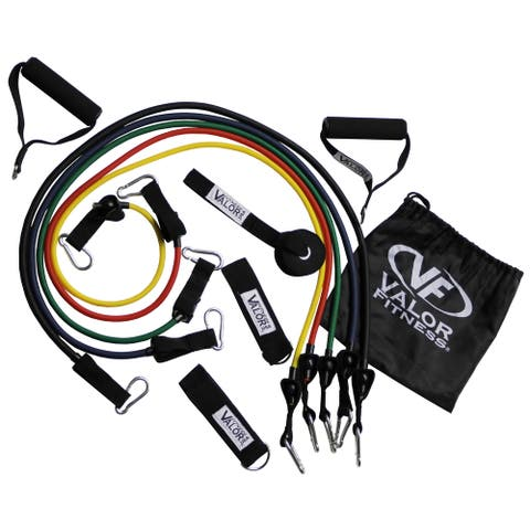 Valor Fitness ED-18 5 Band Conditioning Set  with Handles, Ankle Straps, Door Anchor and Storage Bag