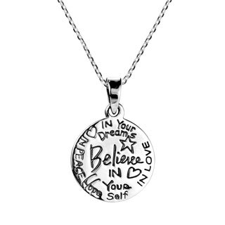 Believe Inspirational Message .925 Sterling Silver Necklace (Thailand)