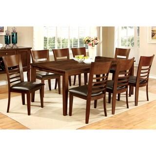 Furniture of America Leonard II 9-piece Brown Cherry Dining Set