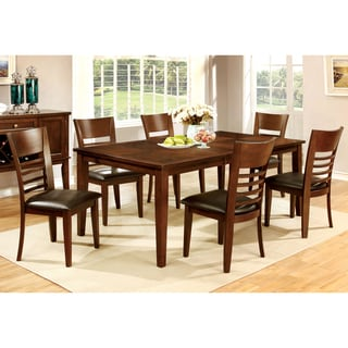 Furniture of America Leonard I 7-piece Brown Cherry Dining Set