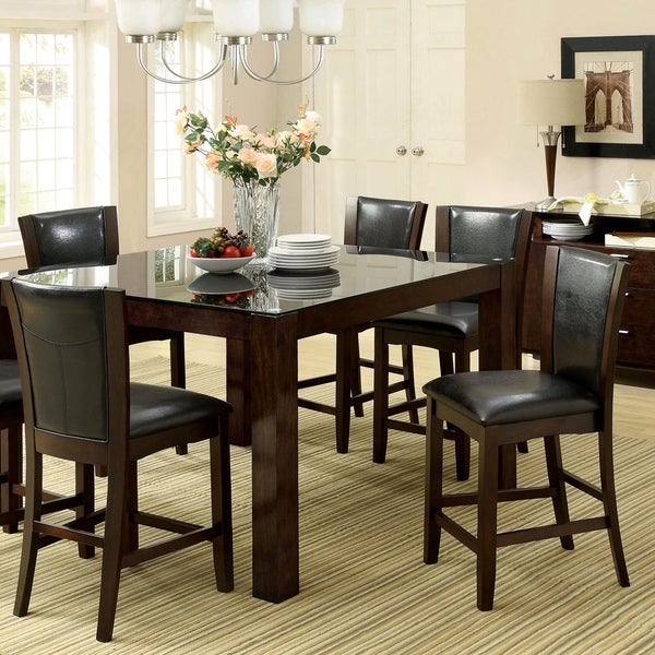 Furniture Of America Byzantia 7 Piece Tempered Glass Counter Height Set    Free Shipping Today   Overstock.com   17093229