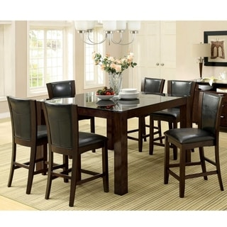 Furniture of America Byzantia 7-Piece Tempered Glass Counter Height Set