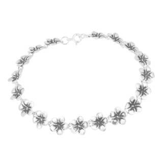 Handmade Sweet Hawaiian Plumeria Flower Link .925 Sterling Silver Bracelet (Thailand)