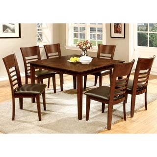 Furniture of America Leonard III 7-piece Brown Cherry Dining Set