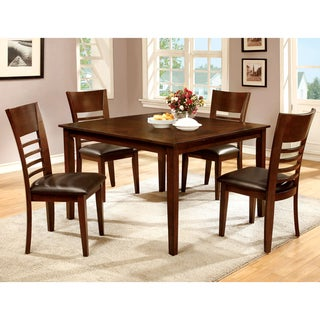 Furniture of America Lons Transitional Brown 5-piece Dining Set