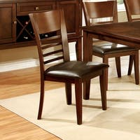 "Furniture of America Leonard Brown Cherry Dining Chair (Set of 2) - 19""W X 22""D X 38""H (Seat Ht: 18 3/4"", Seat Dp: 18"