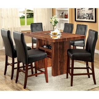 Furniture of America Kiva Modern Cherry 7-piece Counter Dining Set
