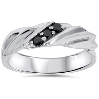 14K White Gold 1/5 CT TDW Men's Black Diamond Wedding Ring