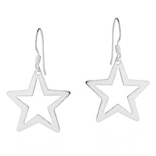 Handmade Wishful Cut Out Star .925 Silver Dangle Earrings (Thailand)