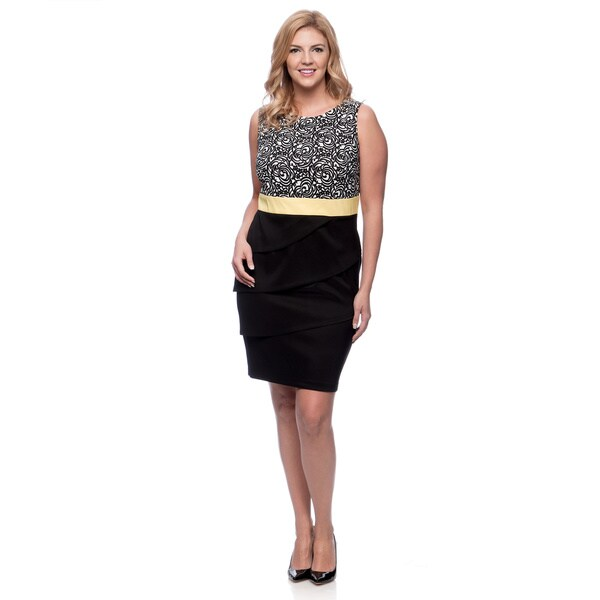 Shop Connected Apparel Plus Size Black And Yellow Layered Look Dress