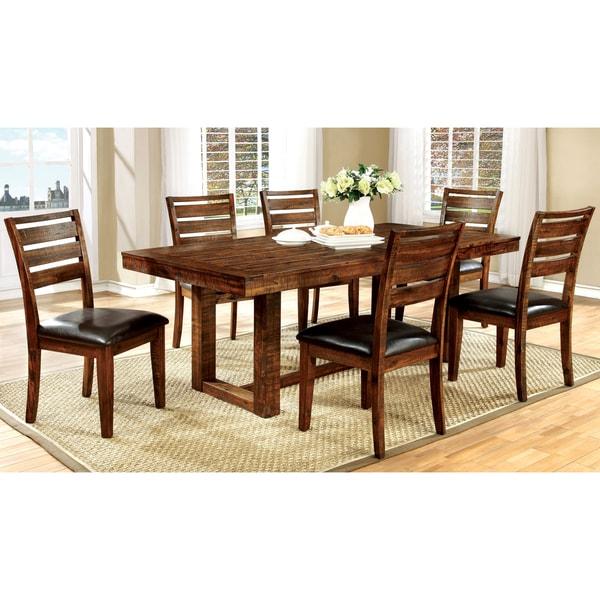 7 Piece Oak Dining Set Furniture Of America Tobiath Rustic 7 Piece Dark Oak  .