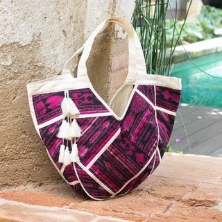 Atitlan Ivory Canvas with Fuchsia and Black Jaspe Accents Featuring Interior Lining and Pockets Womens Tote Bag (Guatemala)
