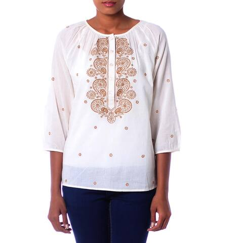 Handmade Cotton 'Majestic Gold' Top (India)