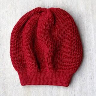 Handcrafted Alpaca Wool 'Endless Red' Beanie Hat (Peru)