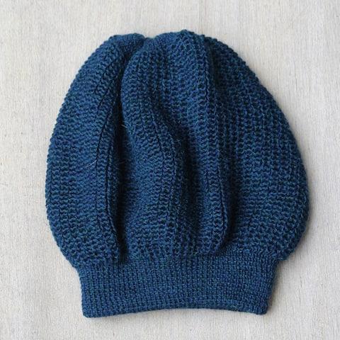 Handmade Alpaca Wool 'Endless Blue' Beanie Hat (Peru)