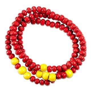 Handmade Set of 3 Men's Pinewood 'Crimson Spirituality' Bracelets (Guatemala)