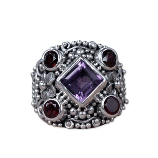 Sterling Silver 'Royal Balinese' Amethyst Garnet Ring (Indonesia)