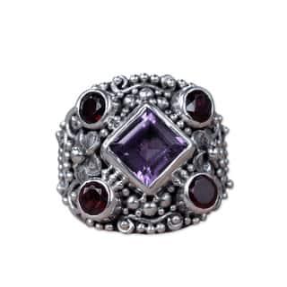 Handmade Sterling Silver 'Royal Balinese' Amethyst Garnet Ring (Indonesia)|https://ak1.ostkcdn.com/images/products/9939497/P17094706.jpg?impolicy=medium