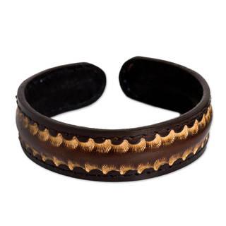 Handmade Men's Leather 'Dark Warrior' Bracelet (Thailand)