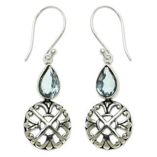Sterling Silver 'Blue Bali Cakra' Blue Topaz Earrings (Indonesia)