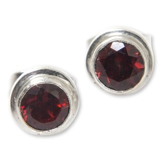 Sterling Silver 'Red Simplicity' Garnet Earrings (Indonesia)