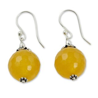 Handmade Sterling Silver 'Glorious Yellow' Chalcedony Earrings (India)