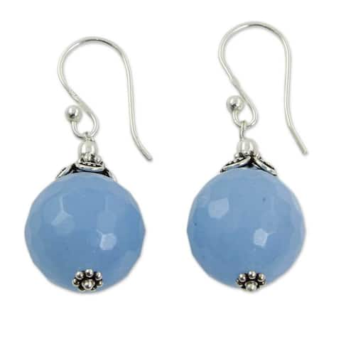 Handmade Sterling Silver Glorious Blue Chalcedony Earrings (India)
