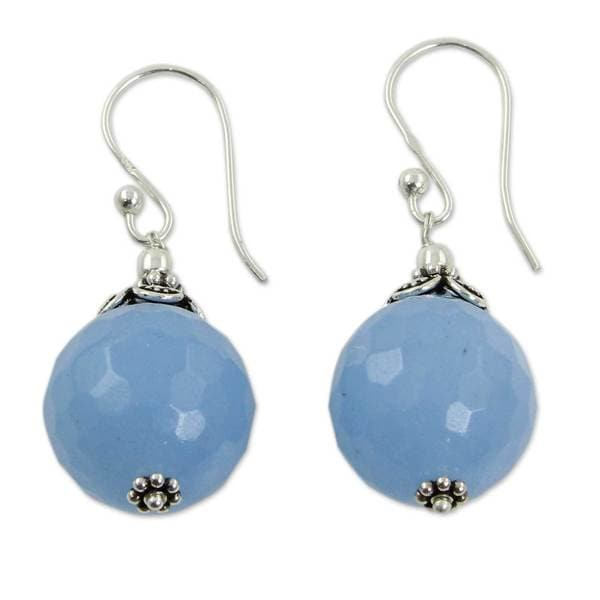 Handmade Sterling Silver Glorious Blue Chalcedony Earrings (India). Opens flyout.